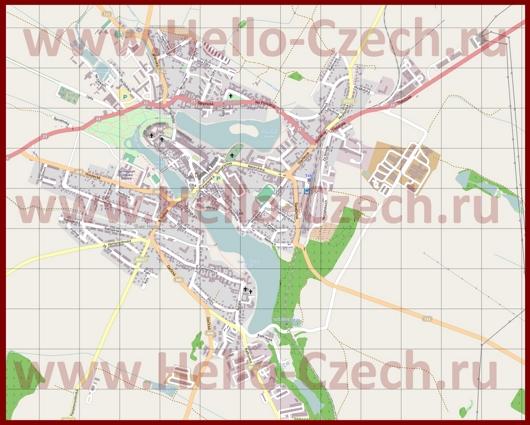 Подробная карта города Телч