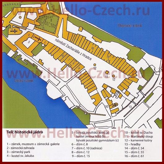 Туристическая карта центра Телча с достопримечательностями
