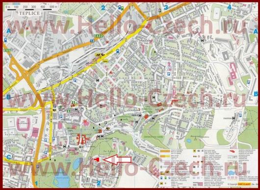 Туристическая карта Теплице с отелями и достопримечательностями