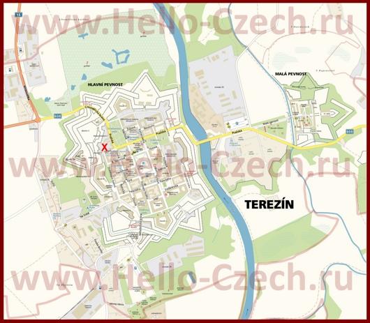 Подробная туристическая карта города Терезин с отелями и достопримечательностями