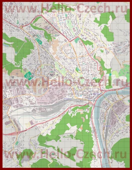 Подробная карта города Усти-над-Лабем