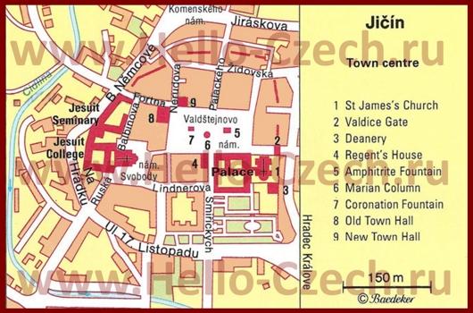 Туристическая карта Йичина с достопримечательностями