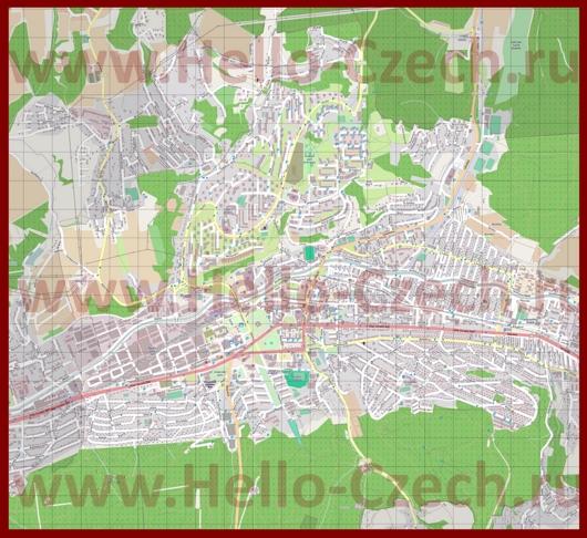 Подробная карта города Злин