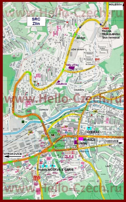 Туристическая карта Злина с отелями и достопримечательностями
