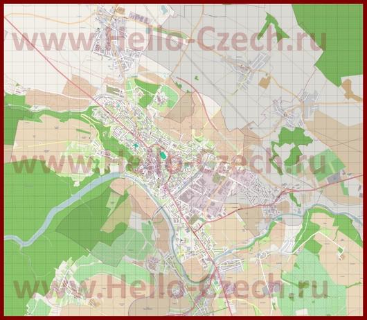 Подробная карта города Зноймо