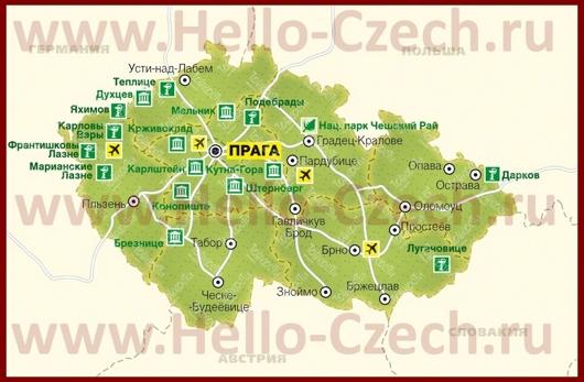 Курорты Чехии на карте
